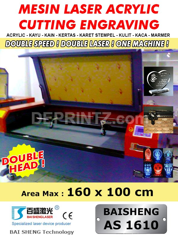 Mesin LASER CUTTING Acrylic Double Head AS 1610