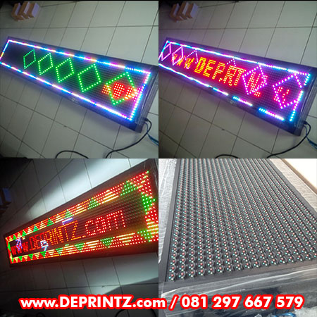 Contoh Running Text FULL COLOUR RGB Warna Warni