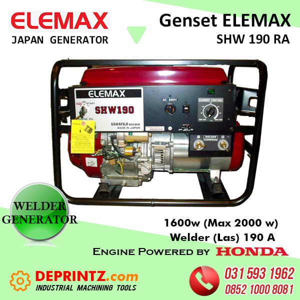 GENSET MESIN LAS ELEMAX SHW 190 RA - 190 Ampere 2KVA