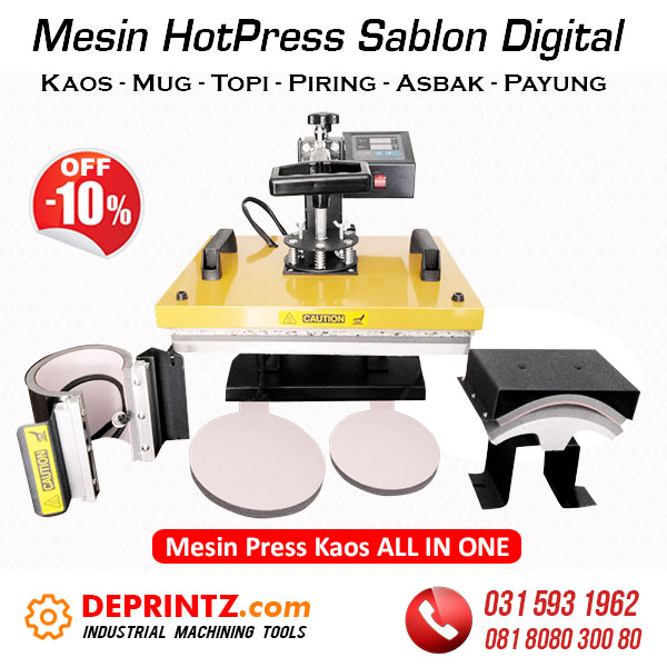 Jual Mesin Press Sablon Digital ALL IN ONE Kaos Mug Piring Topi Asbak Payung