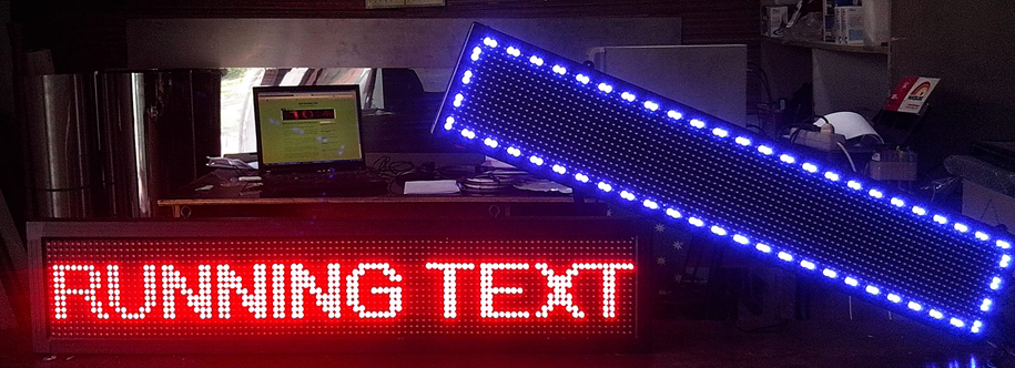 Running Text Red Blue