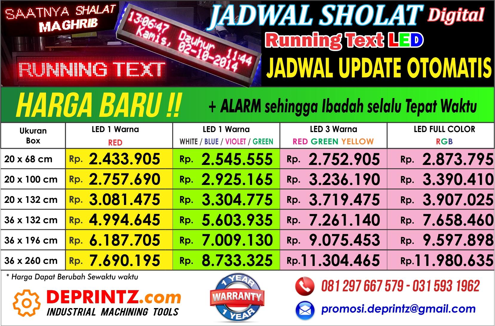 Jual Running Text Moving Sign Led Display Full Colour Harga Murah