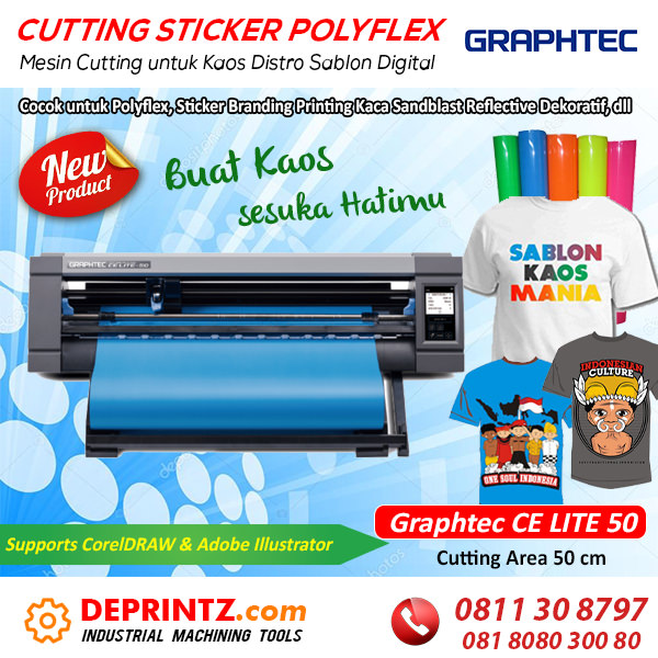 Jual Mesin Cutting Sticker Polyflex Plotter Sablon Kaos GRAPHTEC CE LITE 50