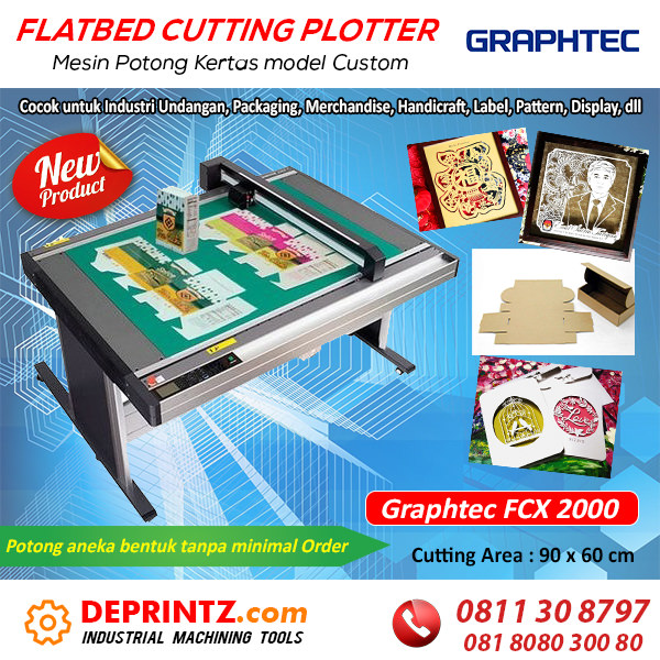 Jual Mesin Flatbed Cutting Plotter Paper Sticker Vinyl GRAPHTEC FCX 2000