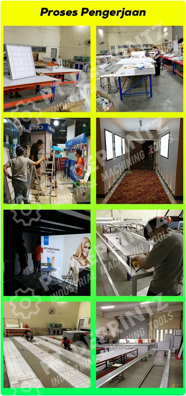 Proses Produksi Perakitan Pembuatan Pesanan SLIM LIGHT BOX LED Display PT DEPRINTZ