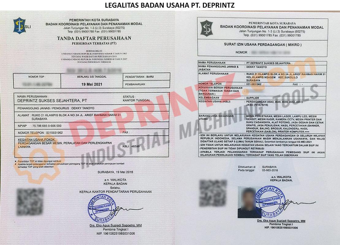 Surat Legalitas Usaha PT DEPRINTZ